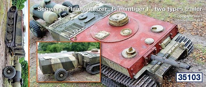 "Schwerer Flammpanzer ""Flammtiger I""; two types trailer..."
