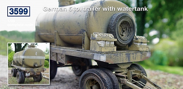 German 5 to. trailer with watertank...